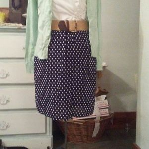 Dresses & Skirts - Navy Blue Polka-dot Skirt