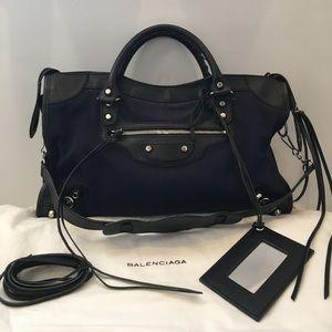 Balenciaga Handbags - 💯Authentic Balenciaga Navy & Black Canvas City