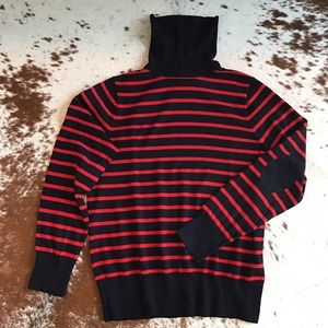 J. Crew Sweaters - J Crew wool striped elbow patch turtleneck XL