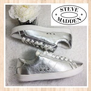 Steve Madden Shoes - Silver metallic Steve Madden sneakers