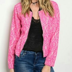 Sale Pink Lace Bomber Jacket
