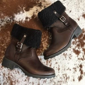 UGG Shoes - Ugg foldover brown leather shearling boots 8