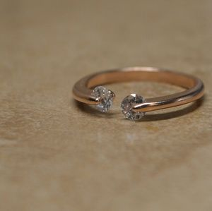 Jewelry - Brand New Rose Gold CZ Gem Adjustable Ring