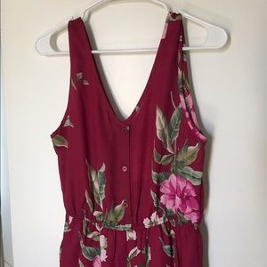 Band of Gypsies Pants - Band of Gypsies Red Floral Jumpsuit