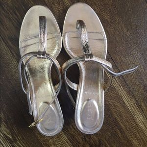 J. Crew metallic t-strap sandal with kitten heel