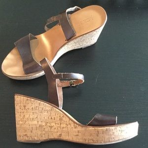J. Crew cork and brown leather wedges