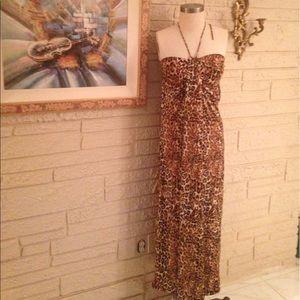 Dereon Dresses & Skirts - Dereon Animal Print Halter Maxi Dress