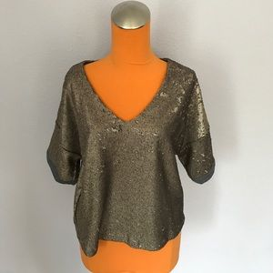 Anthropologie Tops - Deletta Gold Sequin with Gray Trim Oversized Shirt