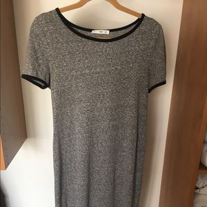 Mango heather gray t-shirt dress with black trim