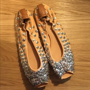 Anthropologie Shoes - Anthropologie Sequin Peep Toe Ballet Flats Shoes