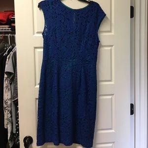 Closet Dresses & Skirts - Blue Lace Illusion Neckline Dress