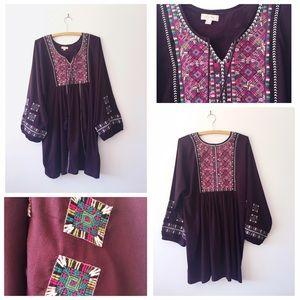Embroidered Purple Bohemian Tunic