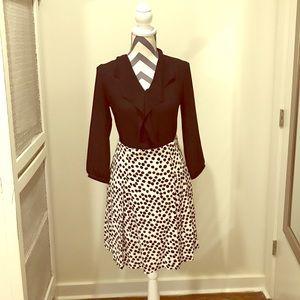 Loft white and black dot skirt