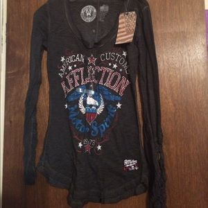 Sinful Tops - NWT American Custom Affliction Shirt Lace Sleeves