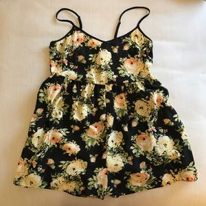 Urban Outfitter black and yellow floral romper