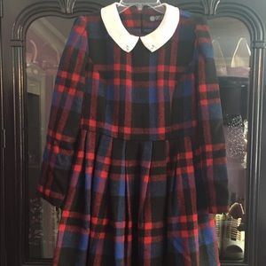 Red & Blue Plaid Dress w/ Stoned PeterPan collar