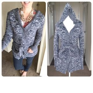 Roxy Sweaters - Marled Roxy Hooded Tunic Cardigan