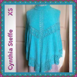 Cynthia Steffe Sweaters - Cynthia Steffe / Gorgeous NWT Turquoise Poncho XS