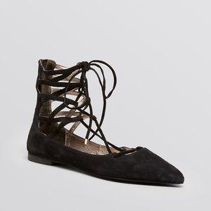 Jeffrey Campbell Shoes - Jeffrey Campbell Atrium Lace Up Black Suede Flats