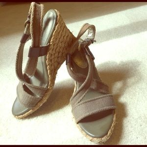 Banana Republic Shoes - Wedge Army Green Espadrille Sandals