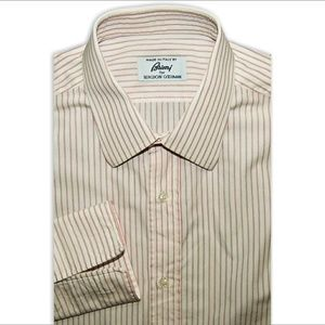 Brioni Other - Brioni button up Dress shirt white w. red stripes