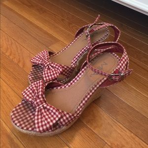 MIA Shoes - MIA ❤️ Red Gingham Wedges