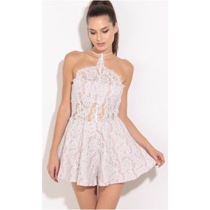 Pants - Ivory Dusty Pink Lace Halter Romper