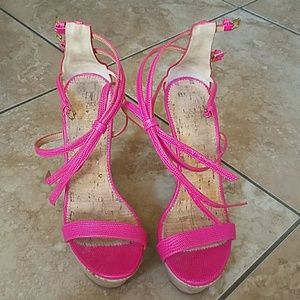 DSquared2 pink cork wedges