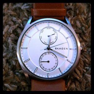 Skagen Other - Skagen 6176 Men 'holst' multi-func, brown leather