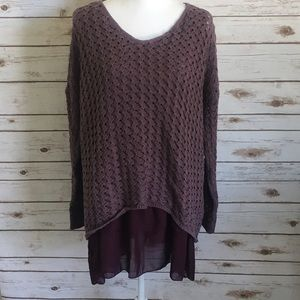 She and Sky Sweaters - Layered Purple Sweater Tunic