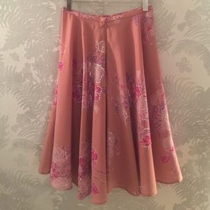 Floral Print Skirt w/Sequins 