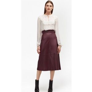 NWT French Connection Annie leather midi skirt