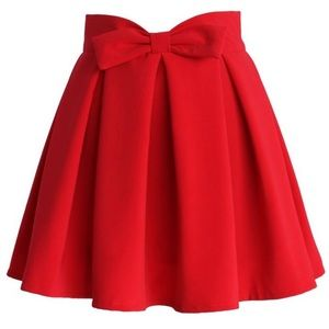 Chicwish Dresses & Skirts - NWT red full bow skirt