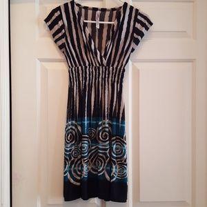 Dresses & Skirts - Black, White, Gold & Blue Summer Dress - Size S