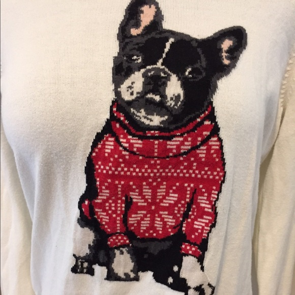 french bull dog light knit christmas sweater