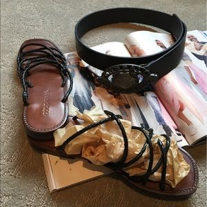 Cole Haan Shoes - Cole Haan Black Braided Leather Strapped Sandal