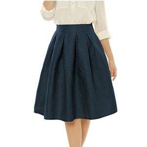 Allegra K Dresses & Skirts - Allegra K High Waist Jacquard Pleated Midi Skirt