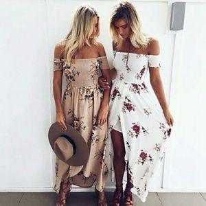 Dresses & Skirts - 🌊Floral Off Shoulder Beach Dress