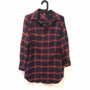 Chicwish Dresses & Skirts - Plaid tunic shirt dress roll tab sleeve
