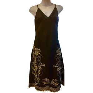 Dresses & Skirts - black with beige embroidered dress