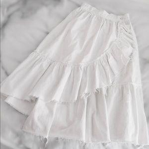 ASOS Dresses & Skirts - ASOS Ruffle Fray Denim Midi