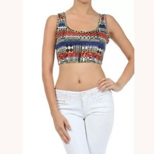 Tops - Crop Top Tribal Indian Sleeveless Tank NEW