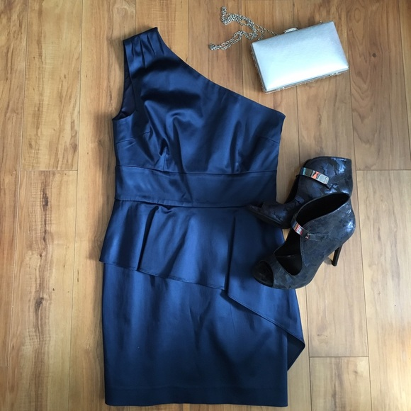 Guess by Marciano Navy One Shoulder Peplum Dress