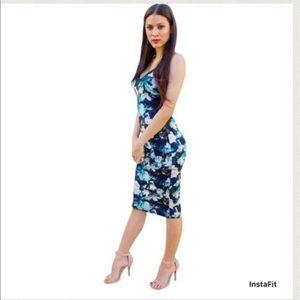 Dresses & Skirts - Cotton Knit lace trim blue tone floral slip dress