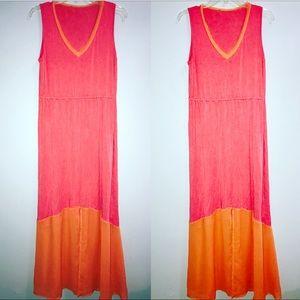 unbranded Dresses & Skirts - Pink and orange maxi sheer slit flowy summer dress