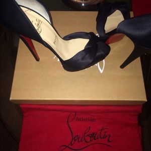 Christian Louboutin Shoes - Christian Louboutin black satin peep top heel pump