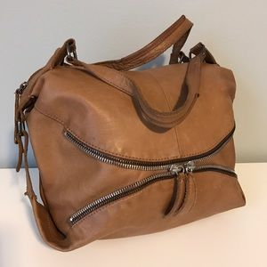 Linea Pelle brown leather hobo zip bag purse