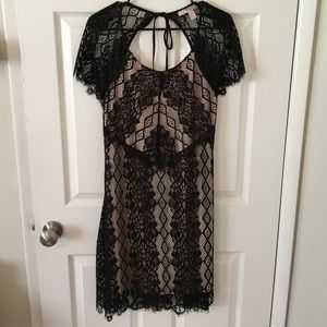 Forever 21 black lace open back dress