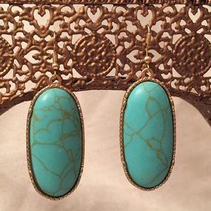 Gold-tone Oval Earrings with Turquoise Stone