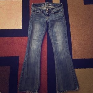"""American Eagle Outfitters Denim - Dark blue, stretch, flare """"Artist"""" jeans."""